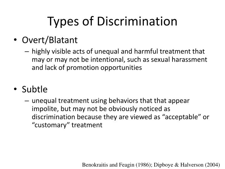 Types of discrimination