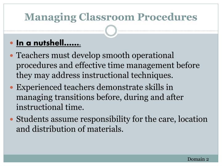 Managing Classroom Procedures