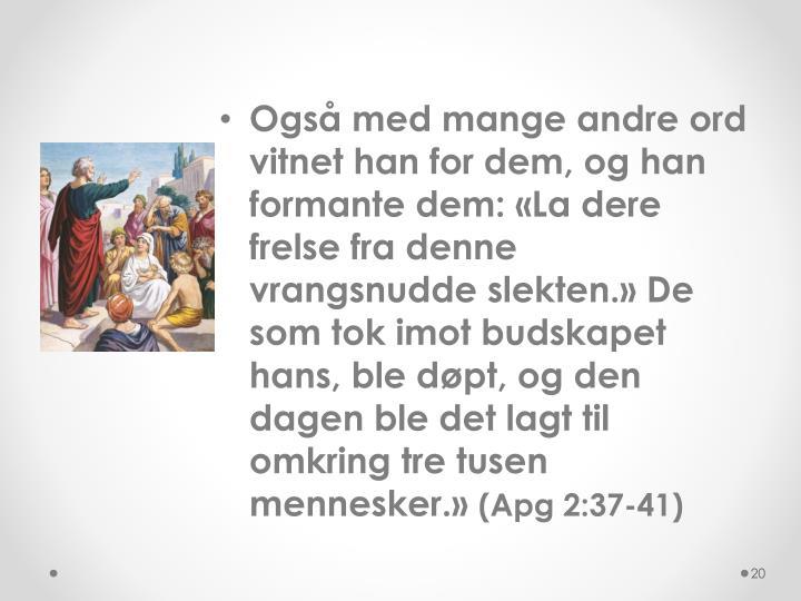 Også med mange andre ord vitnet han for dem, og han formante dem: «La dere frelse fra denne vrangsnudde slekten.» De som tok imot budskapet hans, ble døpt, og den dagen ble det lagt til omkring tre tusen mennesker.»