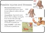 possible injuries and illnesses