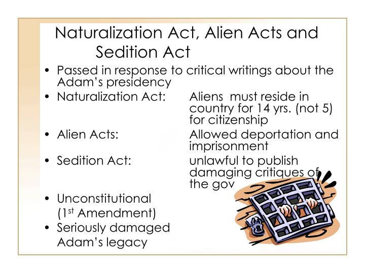 Naturalization Act, Alien Acts and Sedition Act