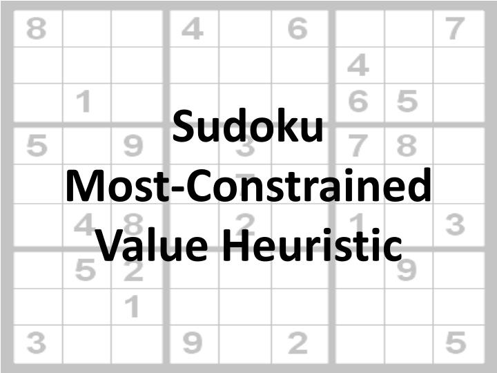 Sudoku most constrained value heuristic