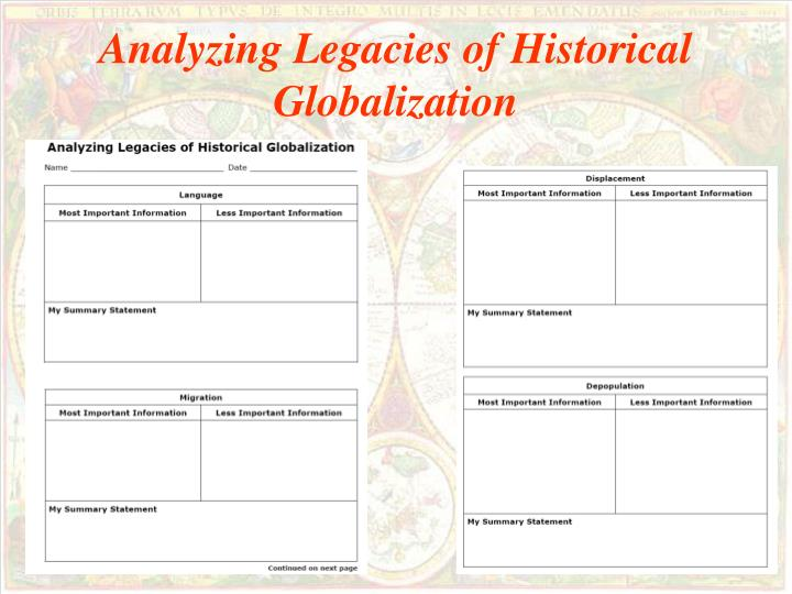 Analyzing Legacies of Historical Globalization