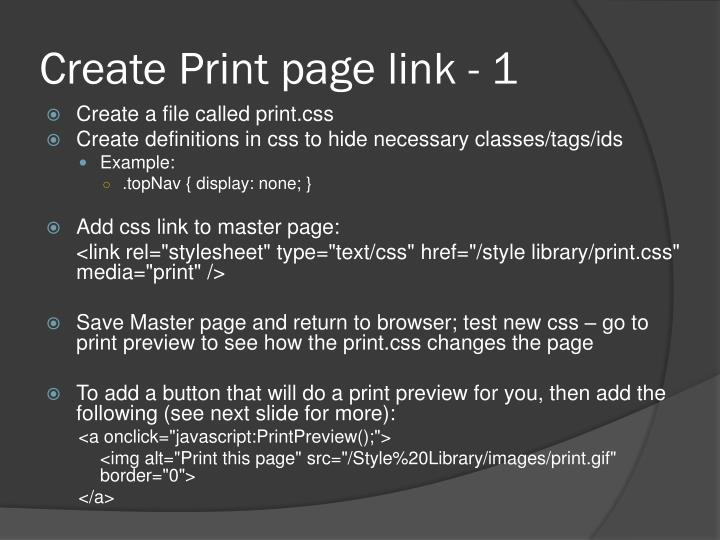 Create Print page link - 1