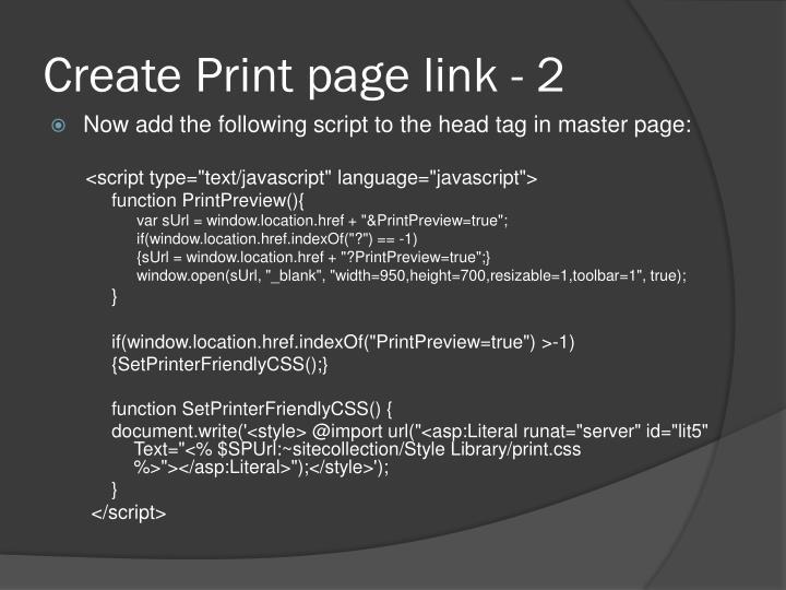 Create Print page link - 2
