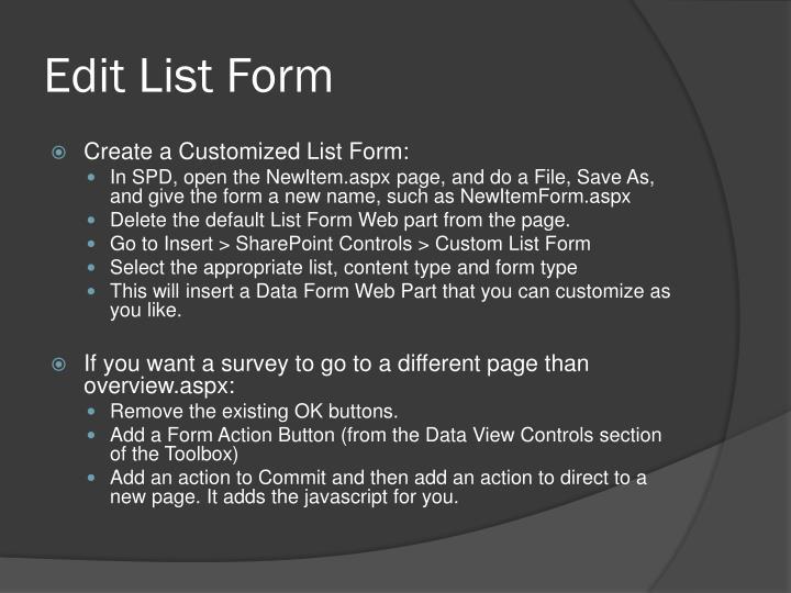 Edit List Form