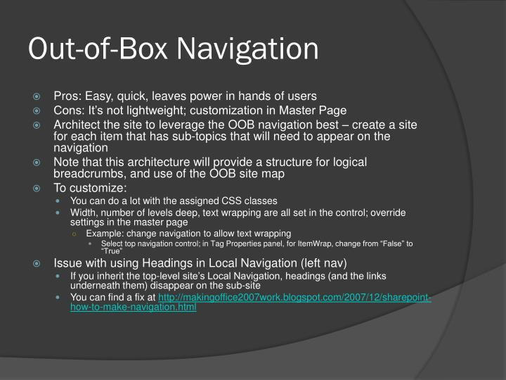 Out-of-Box Navigation