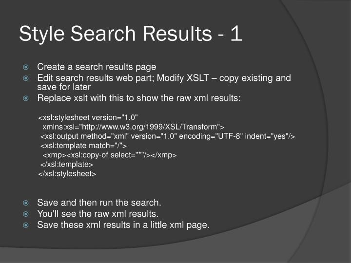 Style Search Results - 1