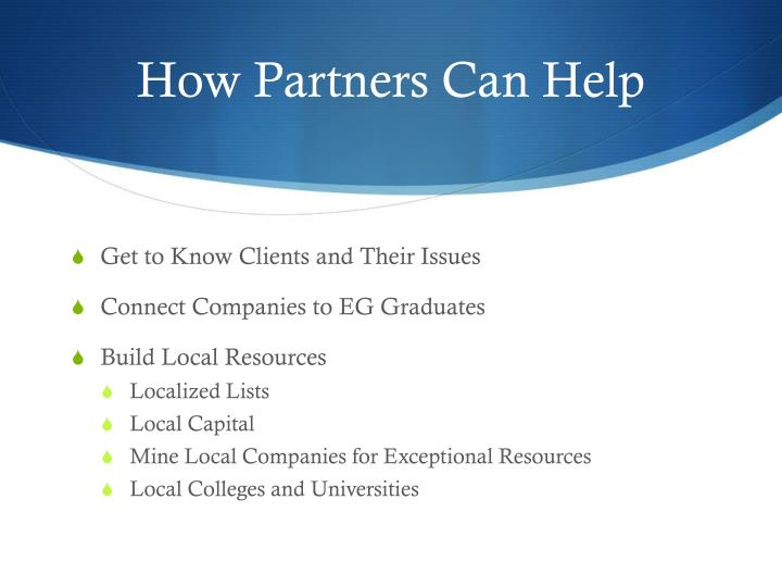 How Partners Can Help
