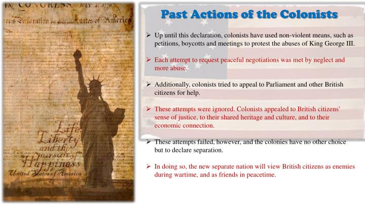 Past Actions of the Colonists