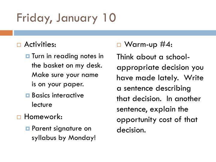 Friday, January 10