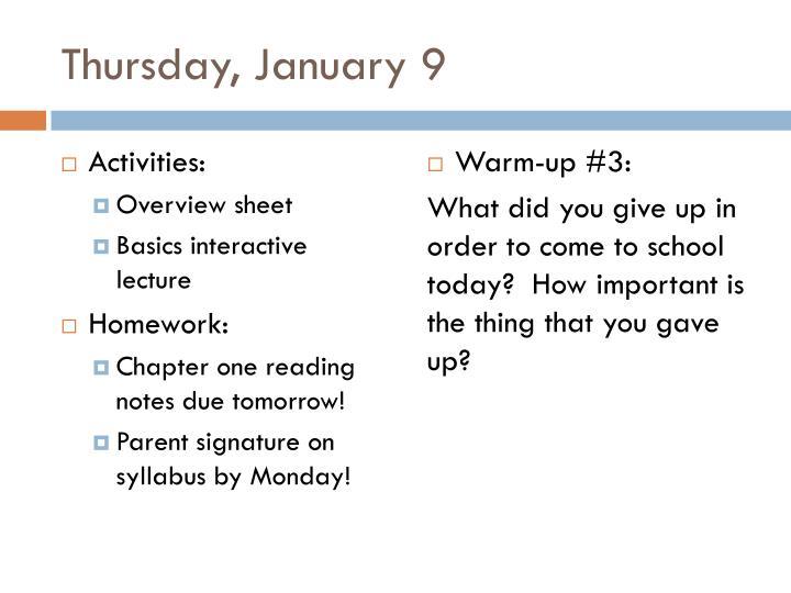 Thursday january 9