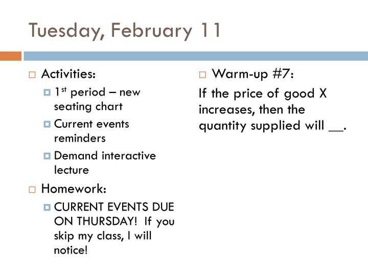 Tuesday, February 11