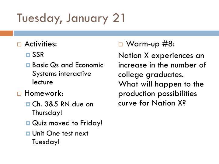 Tuesday, January 21