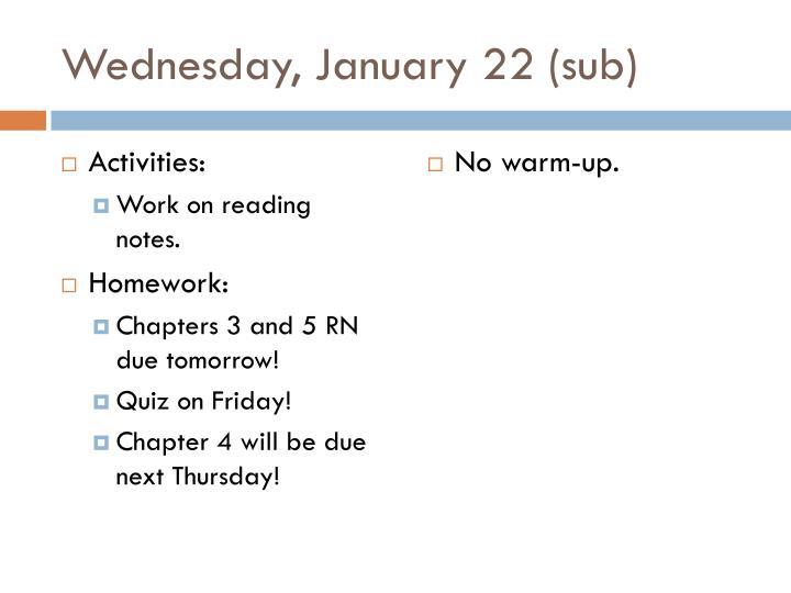 Wednesday, January 22 (sub)
