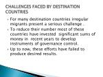 challenges faced by destination countries