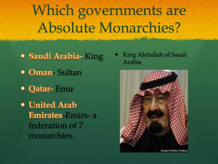 Which governments are Absolute Monarchies?
