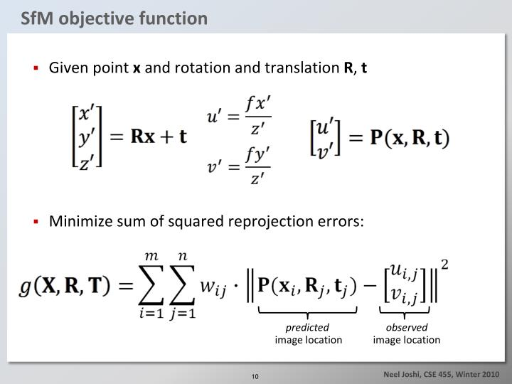 SfM objective function