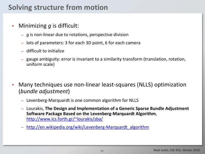 Solving structure from motion