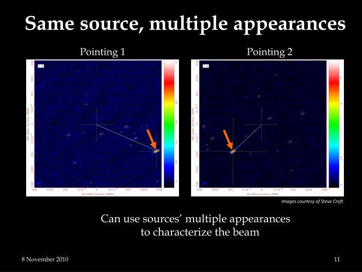Same source, multiple appearances