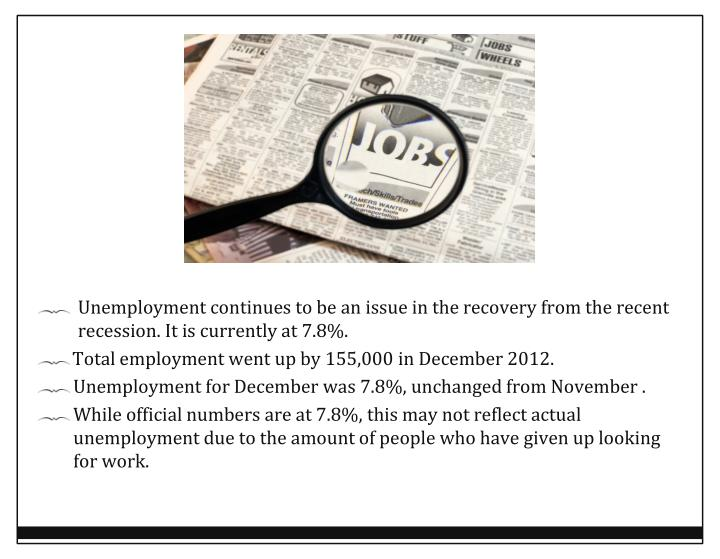 Unemployment continues to be an issue in the recovery from the recent recession. It is currently at