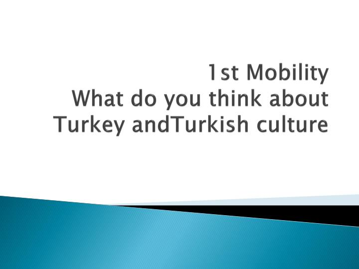 1st mobility what do you think about turkey andturkish culture