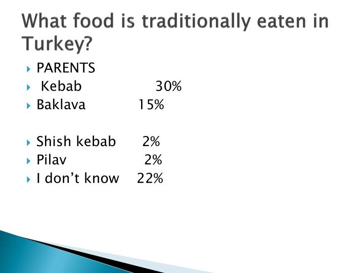 What food is traditionally eaten in turkey