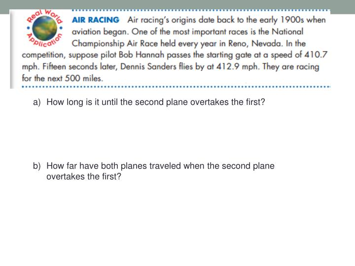 How long is it until the second plane overtakes the first?