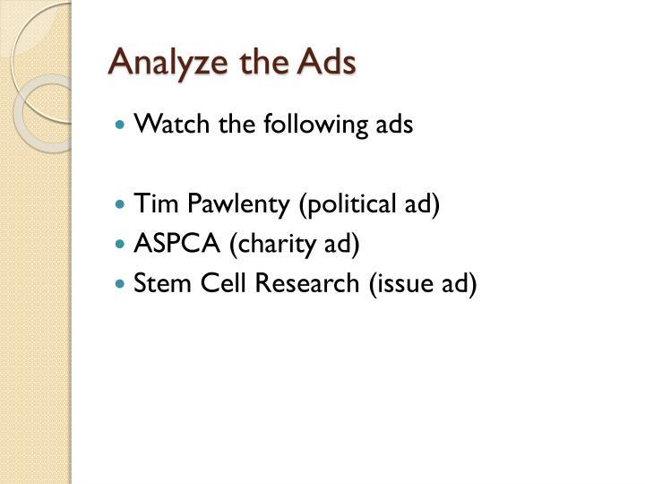 Analyze the Ads
