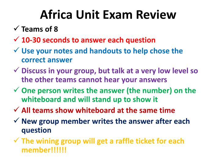 africa unit exam review n.