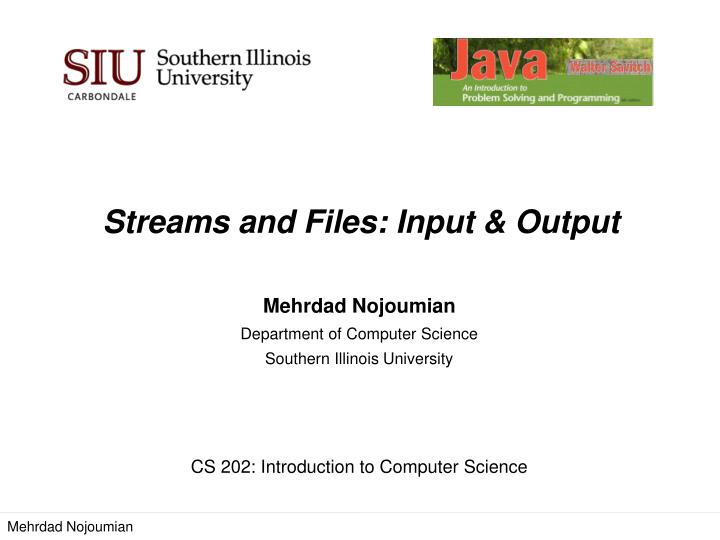 Streams and files input output