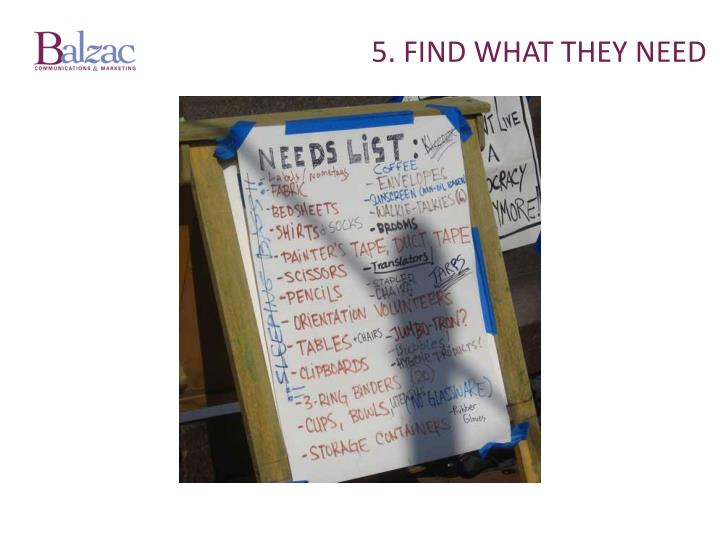 5. Find what THEY need