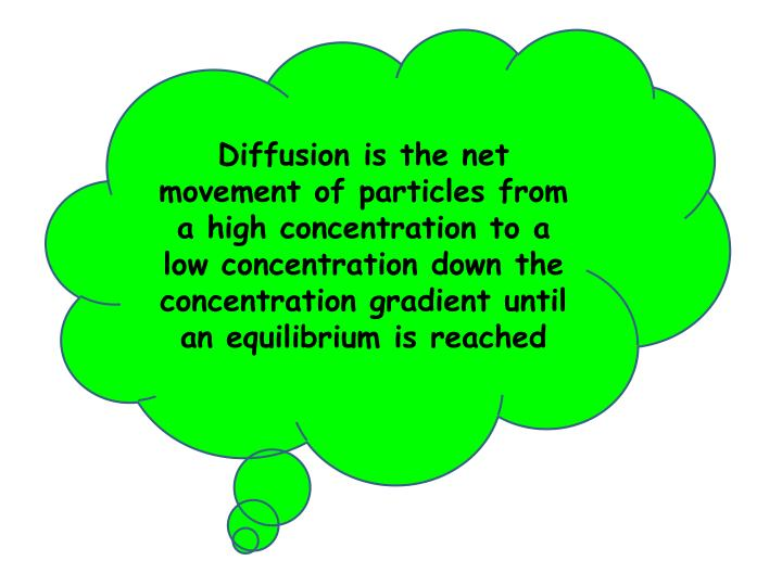 Diffusion is the net movement of particles from a high concentration to a low concentration down the concentration gradient until an equilibrium is reached