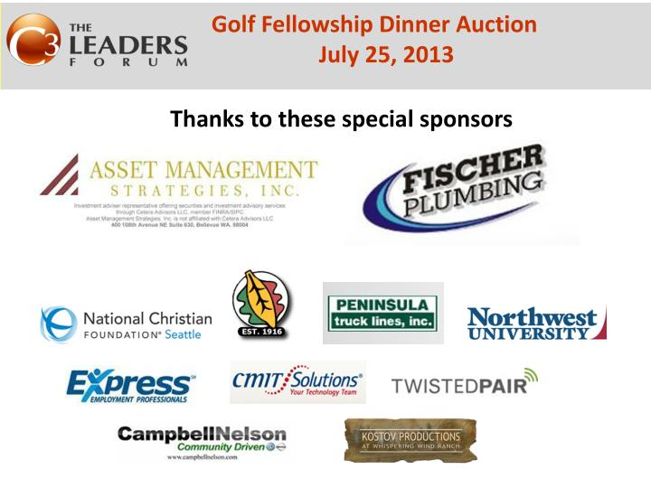 thanks to these special sponsors n.