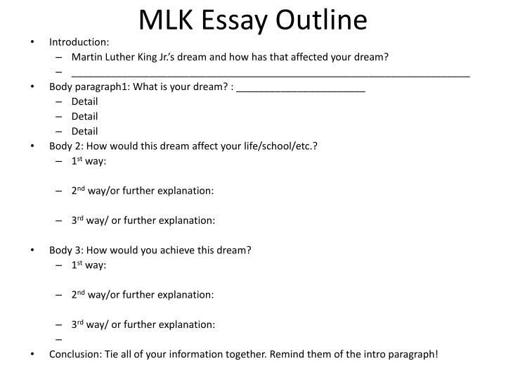 Ppt  Mlk Essay Graphic Organizer Powerpoint Presentation  Id Mlk Essay Outline