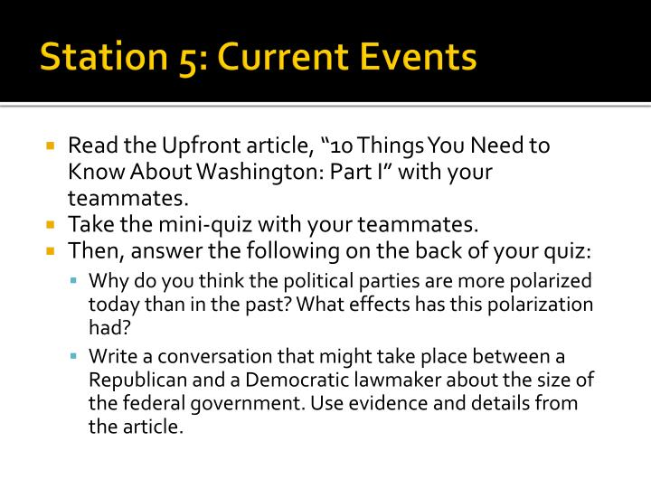 Station 5: Current Events
