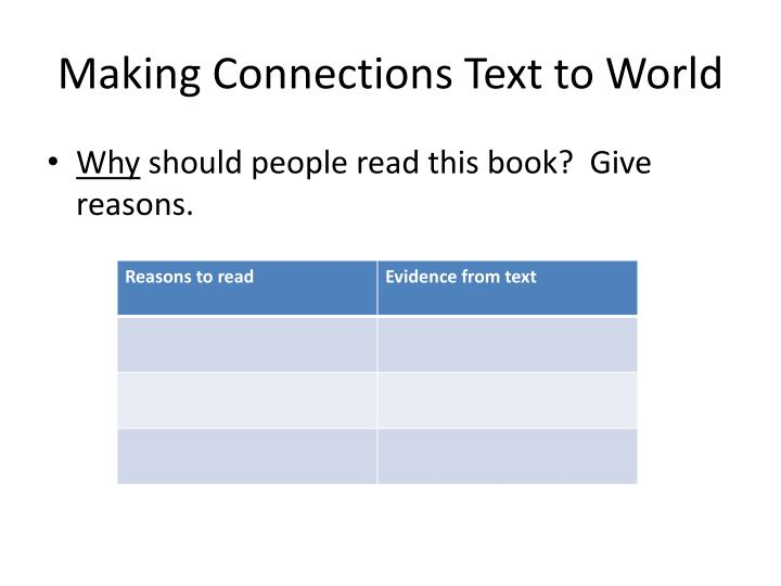 Making Connections Text to