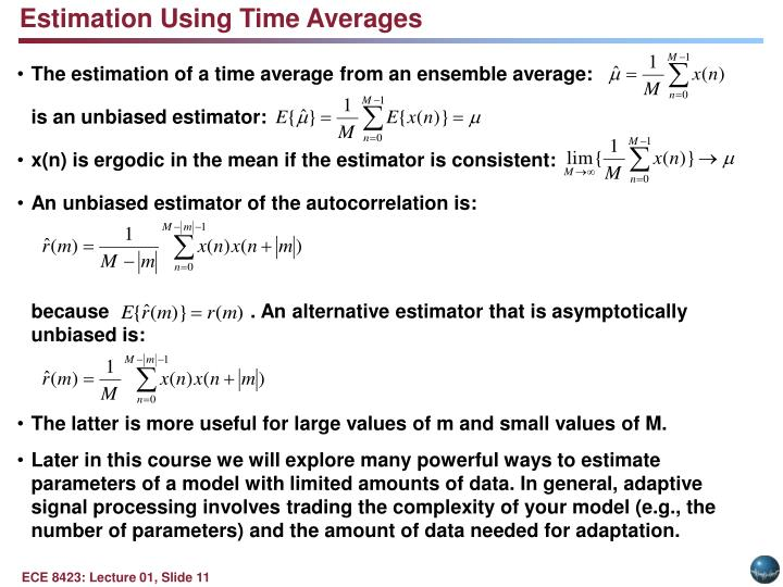 Estimation Using Time Averages