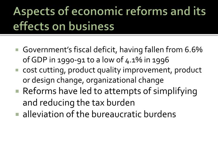 Aspects of economic reforms and its effects on business