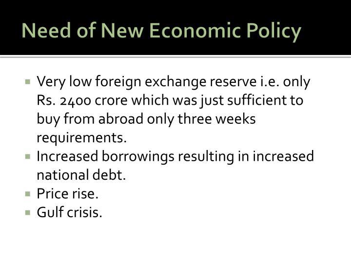 Need of new economic policy