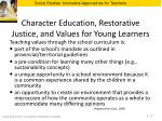 character education restorative justice and values for young learners