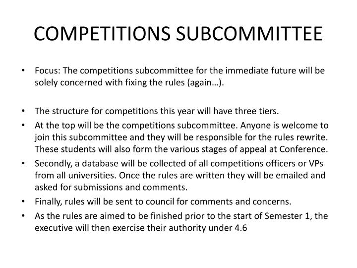 COMPETITIONS SUBCOMMITTEE