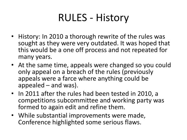 RULES - History