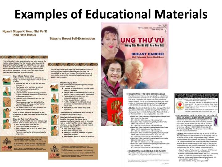 Examples of Educational Materials