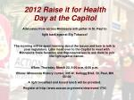2012 raise it for health day at the capitol