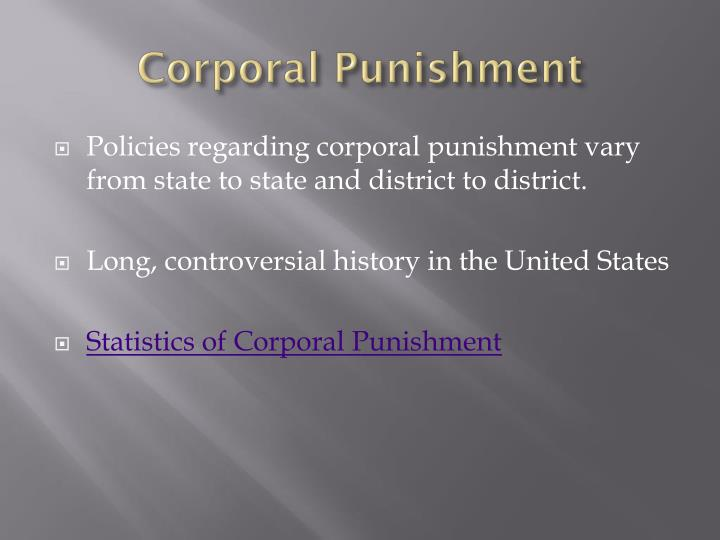 opinion essay corporal punishment Corporal punishment is still condoned because many schools do not have the resources to provide training for alternate teaching methods furthermore, schools claim that it is necessary because corporal punishment is performed right away and cost effective, meaning that all you need is a paddle.