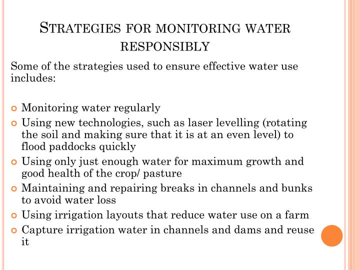 Strategies for monitoring water responsibly
