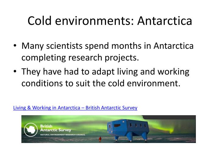 Cold environments: Antarctica