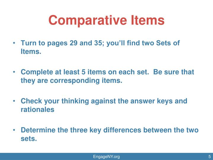 Comparative Items