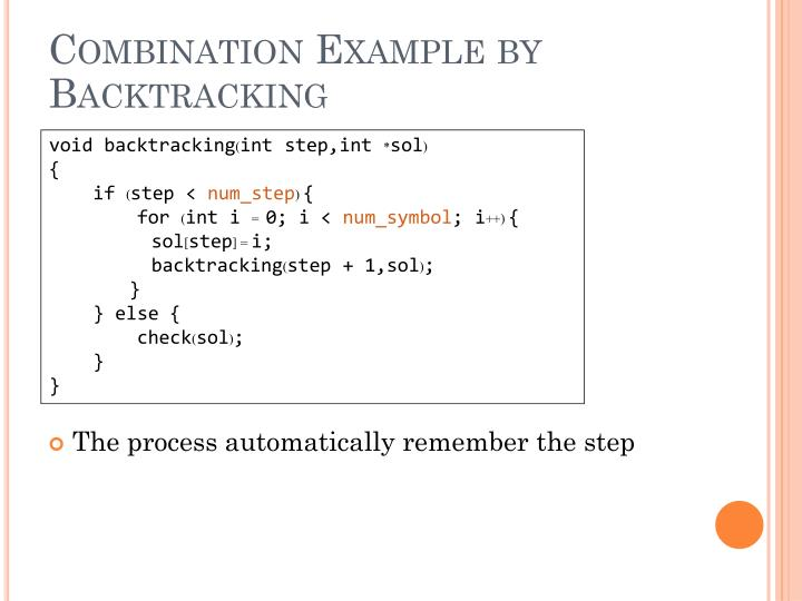 Combination Example by Backtracking